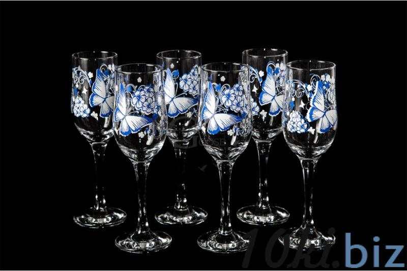 """Набор бокалов для вина """"Тулип"""". Бело-голубая бабочка Наборы для бара в России"""
