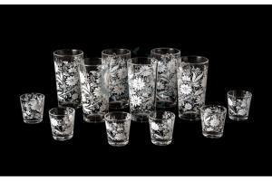 Фото Наборы из 12-13 изделий, Декорированные, Шелкография Набор из 12 предметов: стакан и стопка. Белые цветы