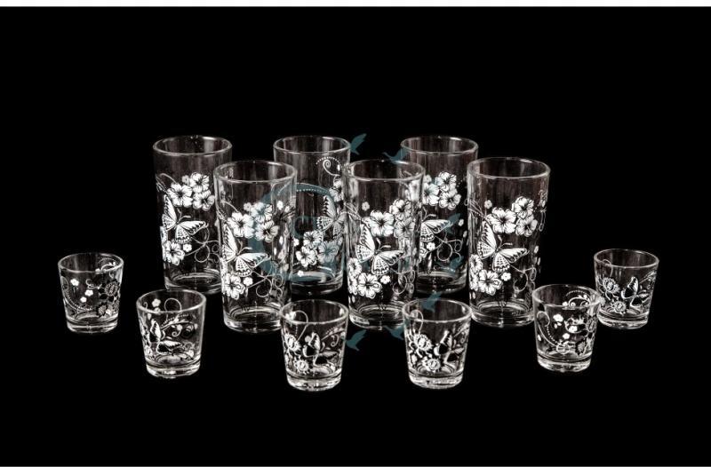 Набор из 12 предметов: стакан, стопка. Белые бабочки