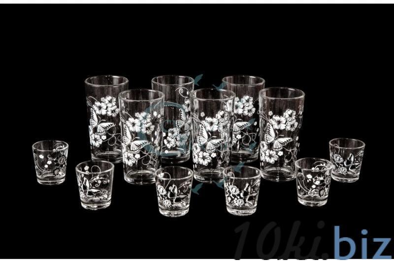 Набор из 12 предметов: стакан, стопка. Белые бабочки Графины, кувшины, питьевые наборы в России