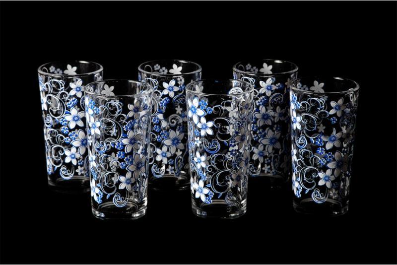 """Набор стаканов """"Ода"""". Бело-голубой вьюнок"""