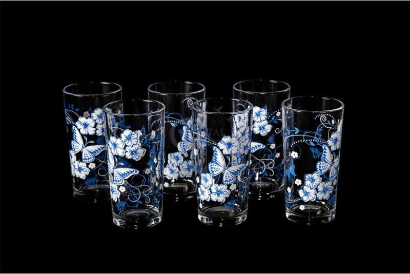 """Набор стаканов """"Ода"""". Бело-голубые бабочки"""