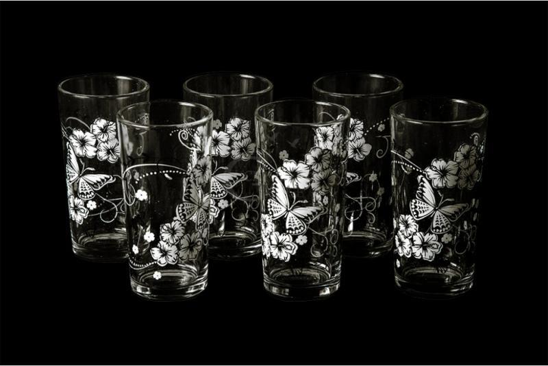 "Набор стаканов ""Ода"". Белые бабочки"