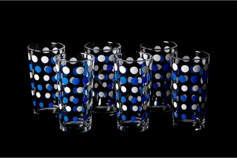 "Набор стаканов ""Ода"". Бело-синий горох."