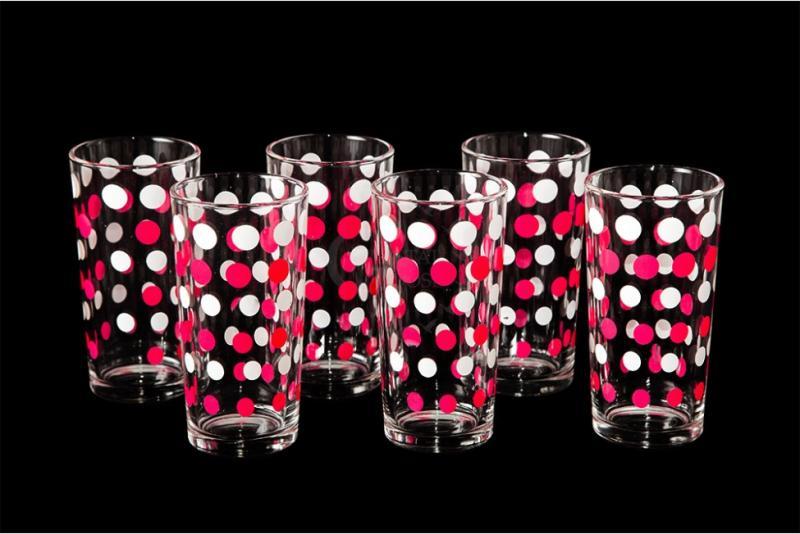 """Набор стаканов """"Ода"""". Бело-розовый горох."""