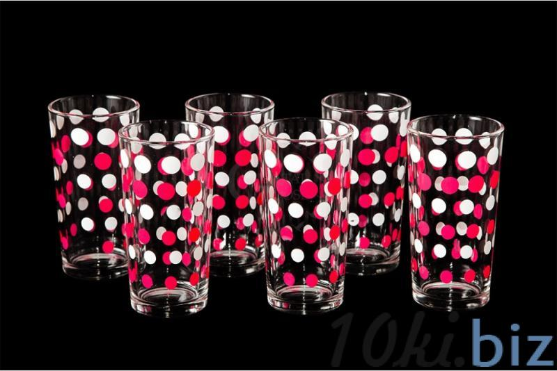 """Набор стаканов """"Ода"""". Бело-розовый горох. Стаканы купить на рынке в Гусь-Хрустальном"""