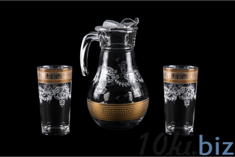 Набор: Кувшин и 2 стакана. Барокко купить в Гусь-Хрустальном - Графины, кувшины, питьевые наборы с ценами и фото
