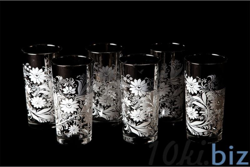 """Набор стаканов """"Ода"""". Белые цветы Стаканы купить на рынке в Гусь-Хрустальном"""