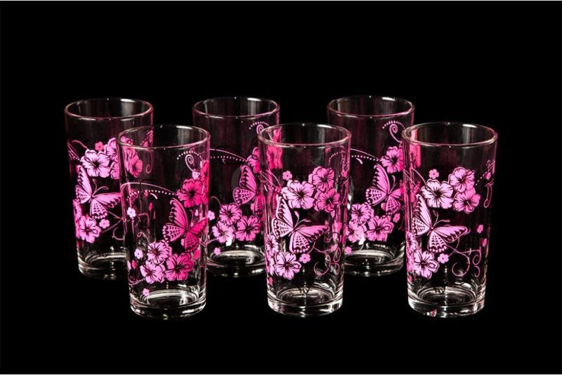 """Набор стаканов """"Ода"""". Розовые бабочки"""