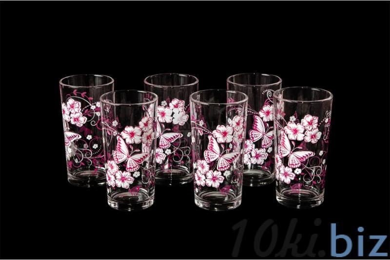 """Набор стаканов """"Ода"""". Розово-белые бабочки купить в Гусь-Хрустальном - Стаканы с ценами и фото"""