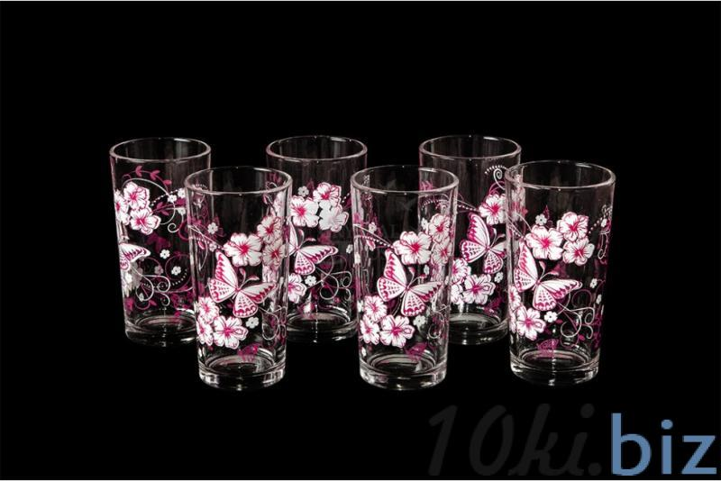 """Набор стаканов """"Ода"""". Розово-белые бабочки"""