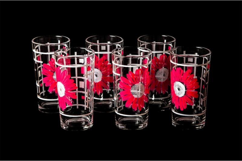 """Набор стаканов """"Ода"""". Розовые герберы"""