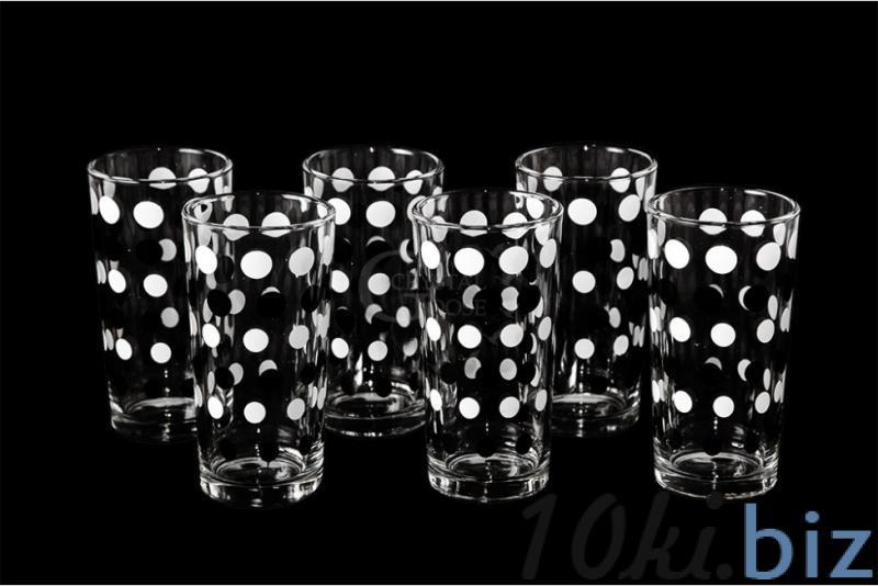 """Набор стаканов """"Ода"""". Черно-белый горох. купить в Гусь-Хрустальном - Стаканы с ценами и фото"""