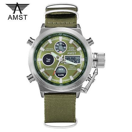 Часы Amst 3003 Wrangler, зеленый ремешок