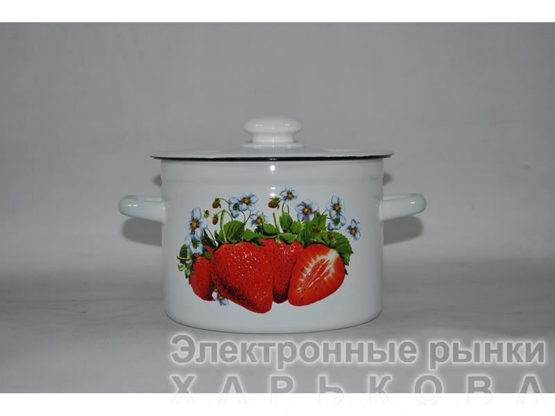 Кастрюля эмалированная Клубника цилиндрическая 3л (Новомосковск)