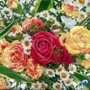 Фото Салфетки для декупажа, Цветы Салфетка Розы и ромашки СД-058