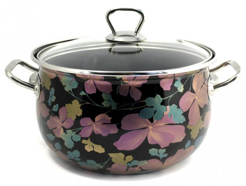 Фото Посуда со стеклоэмалевым покрытием, Кастрюли со стеклоэмалевым покрытием Кастрюля Интерос 2,1л Чёрный клематис