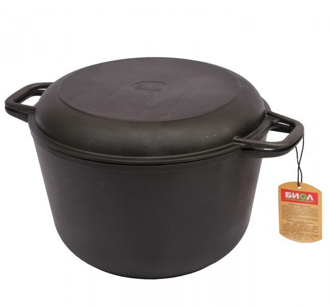 Кастрюля чугунная с крышкой-сковородкой Биол 6л