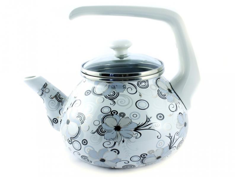 Фото Посуда со стеклоэмалевым покрытием, Чайники со стеклоэмалевым покрытием Чайник Интерос 2,2л Кружево (бакелит. ручка)