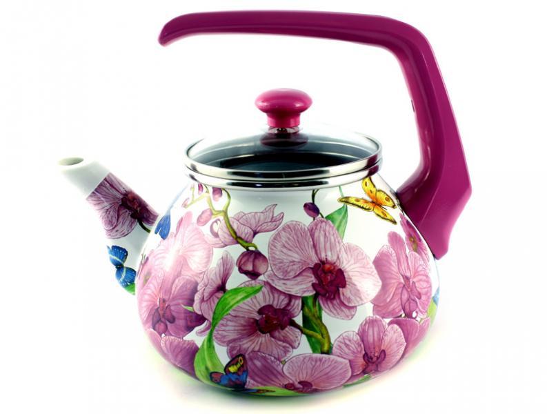 Чайник Интерос 2,2л Орхидея (бакелит. ручка)