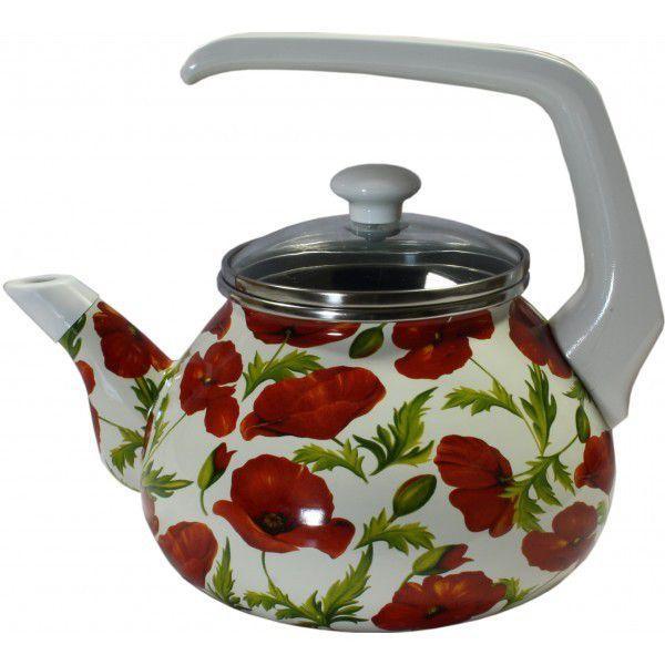 Фото Посуда со стеклоэмалевым покрытием, Чайники со стеклоэмалевым покрытием Чайник Интерос 2,2л Маки (бакелит. ручка)
