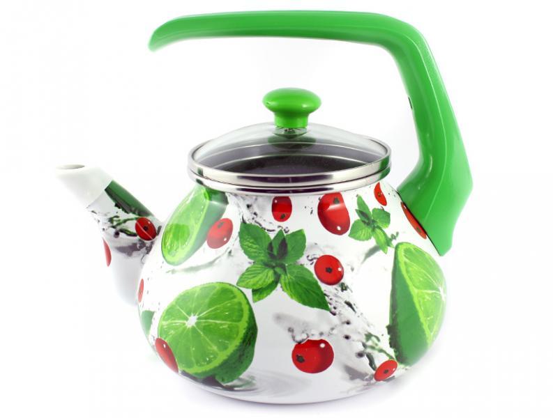 Фото Посуда со стеклоэмалевым покрытием, Чайники со стеклоэмалевым покрытием Чайник Интерос 2,2л Мохито (бакелит. ручка)