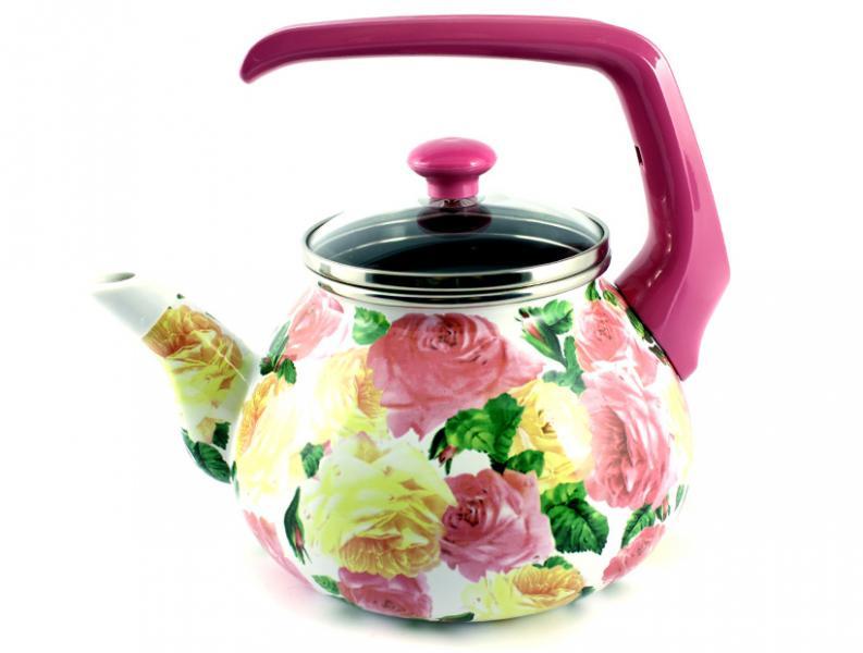 Чайник Интерос 2,2л Розы (бакелит. ручка)