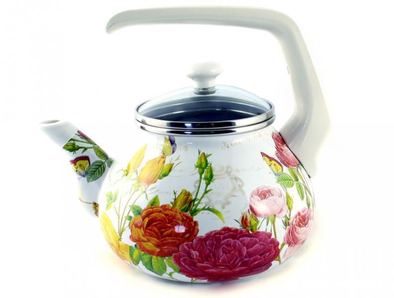 Чайник Интерос 2,2л Розовый рай (бакелит. ручка)