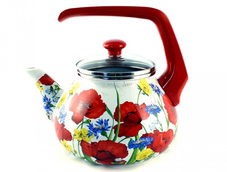 Фото Посуда со стеклоэмалевым покрытием, Чайники со стеклоэмалевым покрытием Чайник Интерос 2,2л Маковое поле (бакелит. ручка)