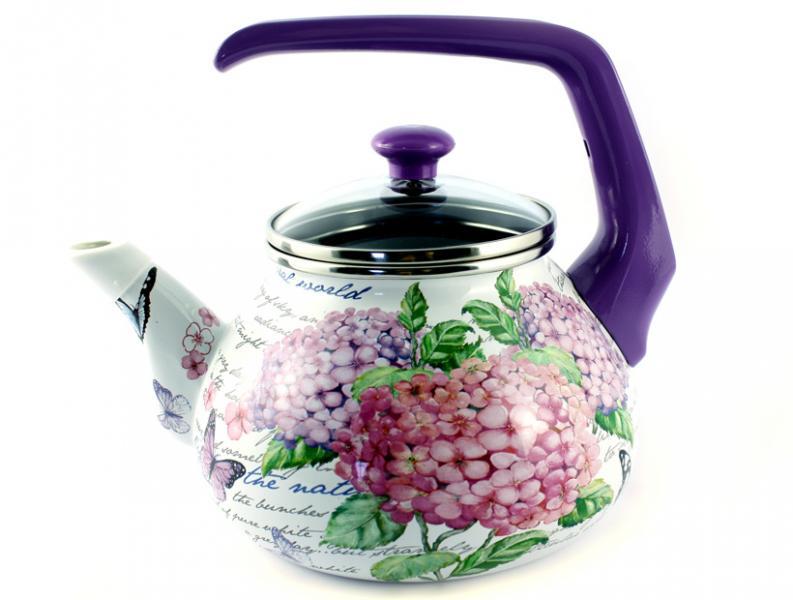 Фото Посуда со стеклоэмалевым покрытием, Чайники со стеклоэмалевым покрытием Чайник Интерос 2,2л Гортензия (бакелит. ручка)