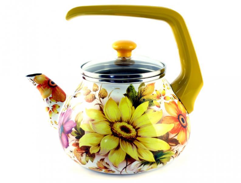Чайник Интерос 2,2л Жёлтая георгина (бакелит. ручка)