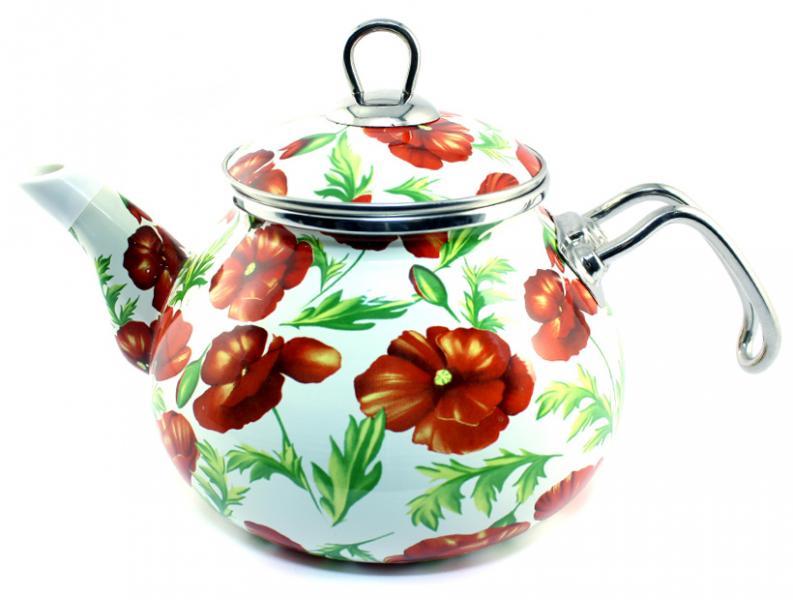 Фото Посуда со стеклоэмалевым покрытием, Чайники со стеклоэмалевым покрытием Чайник Интерос 2,2л Маки