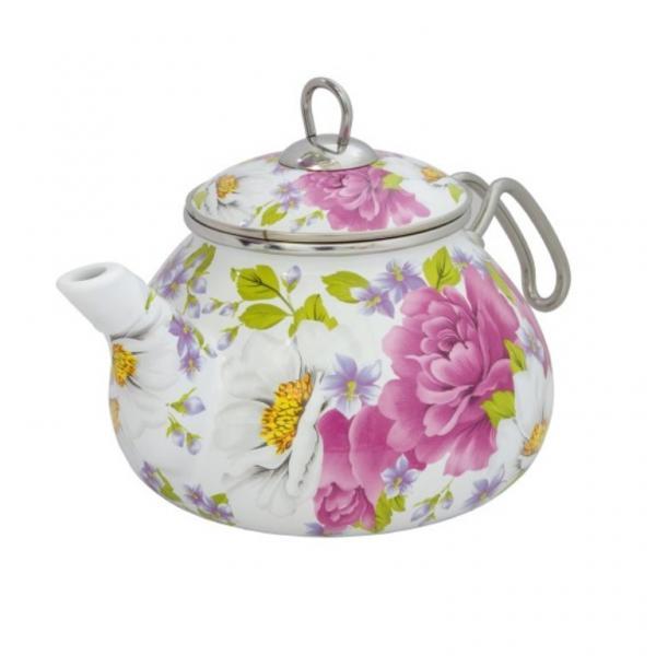 Фото Посуда со стеклоэмалевым покрытием, Чайники со стеклоэмалевым покрытием Чайник Интерос 2,2л Пион