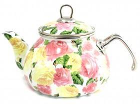 Фото Посуда со стеклоэмалевым покрытием, Чайники со стеклоэмалевым покрытием Чайник Интерос 2,2л Розы