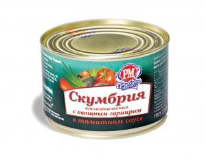 Фото Рыбные консервы Скумбрия с овощным гарниром в томатном соусе