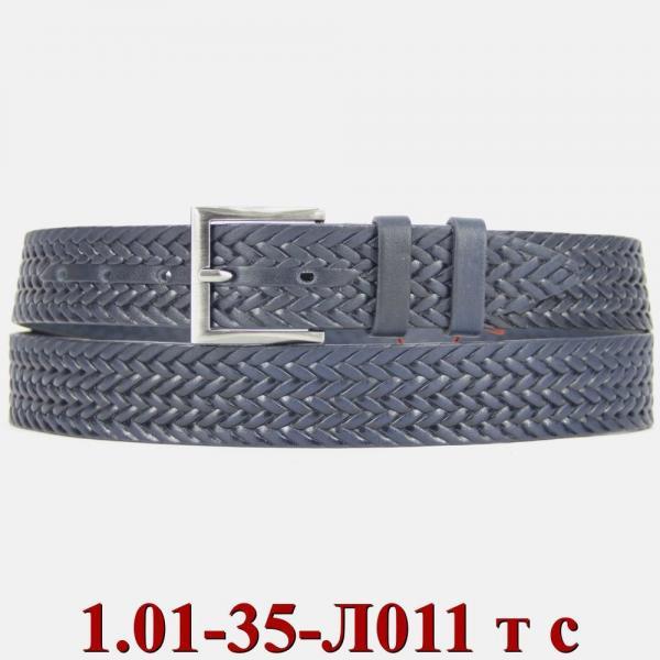 1.01-35-Л011 ремень классика тиснение синий