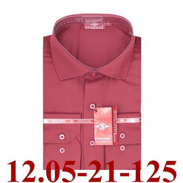 12.05-21-125 сорочка притал бордовая однотон длин