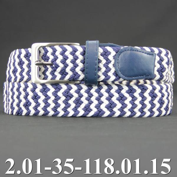 2.01-35-118.01.15 ремень классика текстиль бело-синий