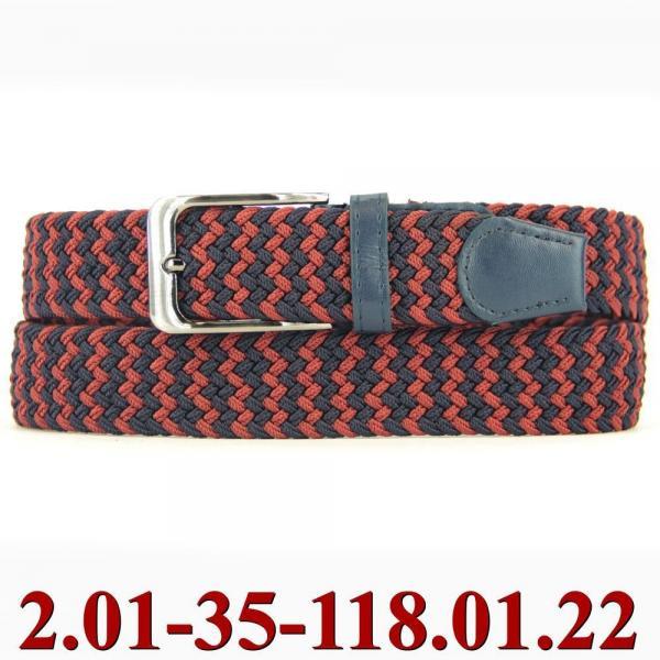 2.01-35-118.01.22 ремень классика текстиль сине-красный
