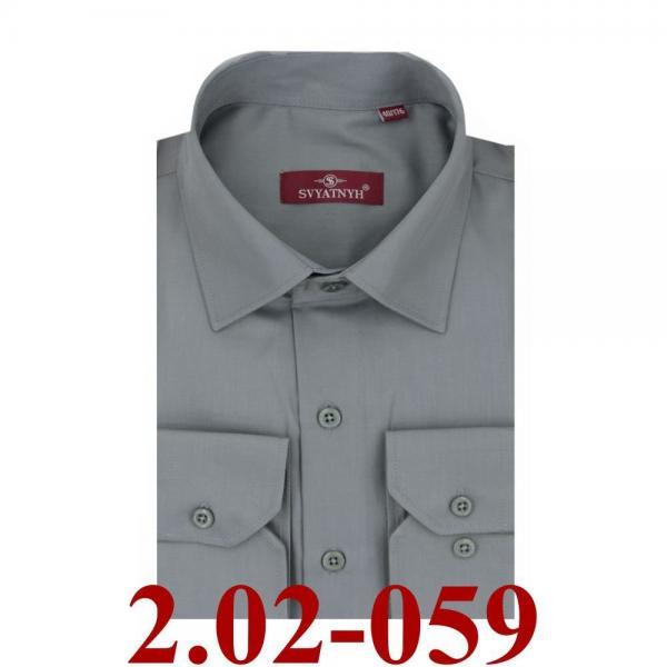2.02-059 сорочка полуприт серый однотон длин