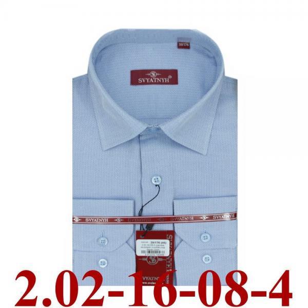 2.02-16-08-4 сорочка полуприт голубая узор микро длин