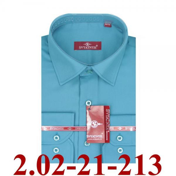 2.02-21-213 сорочка полуприт лазурная однотон длин