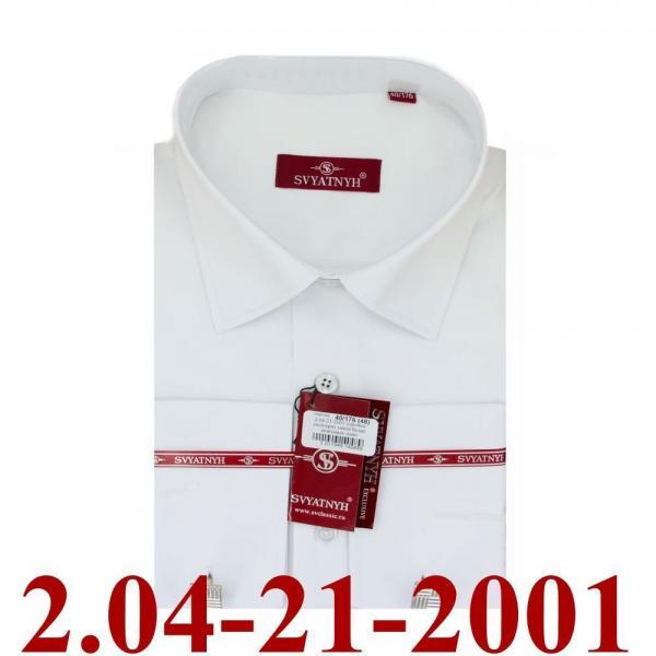 2.04-21-2001 сорочка полуприт запон белая диагональ длин