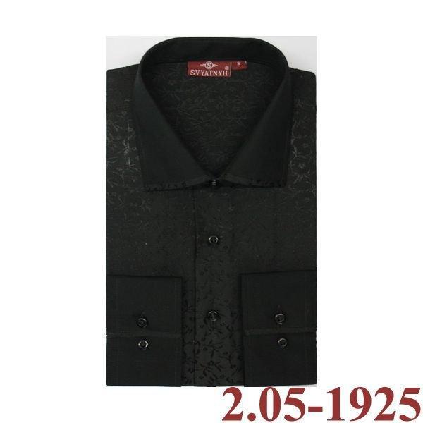 2.05-1925 сорочка притал черн узор длин