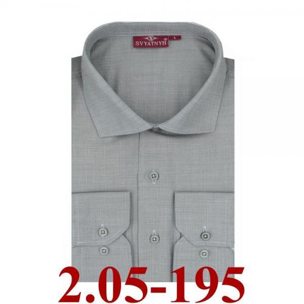2.05-195 сорочка притал серая микроклетка длин