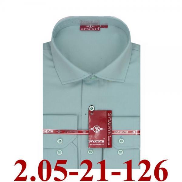2.05-21-126 сорочка притал серо зеленая однотон длин