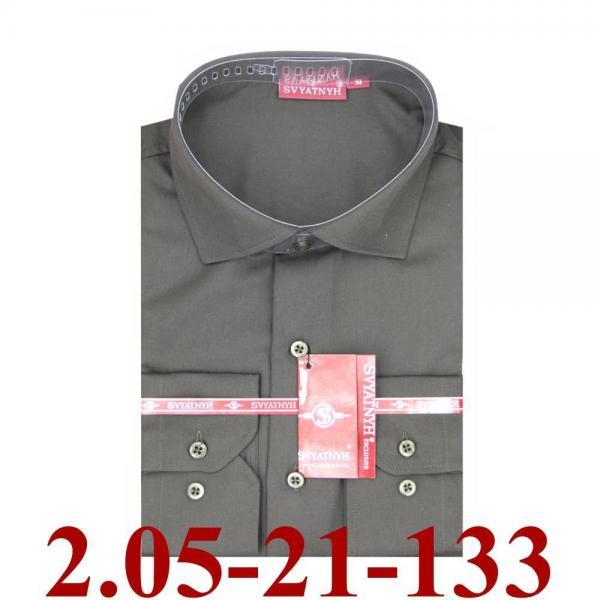 2.05-21-133 сорочка притал т.коричневая однотон длин