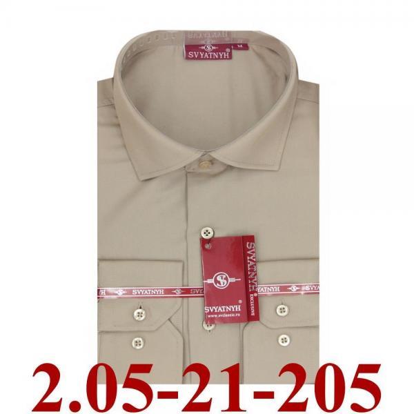 2.05-21-205 сорочка притал св.коричневая однотон длин