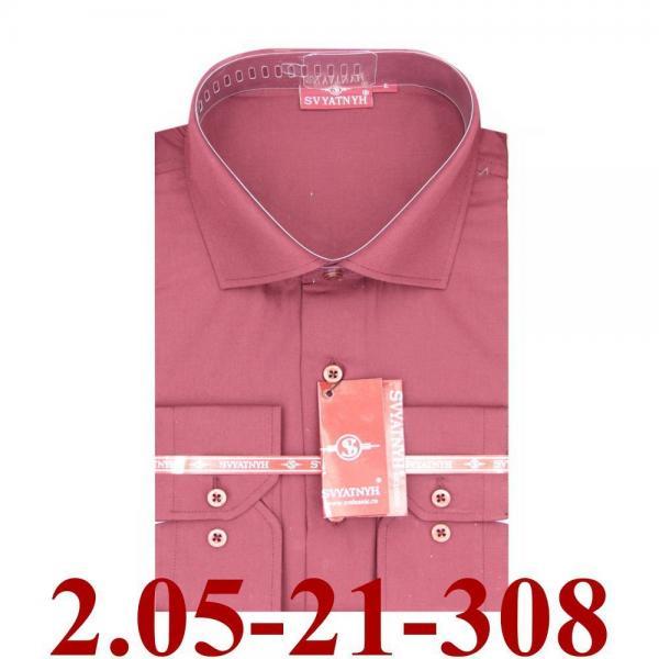 2.05-21-308 сорочка притал бордовая однотон длин