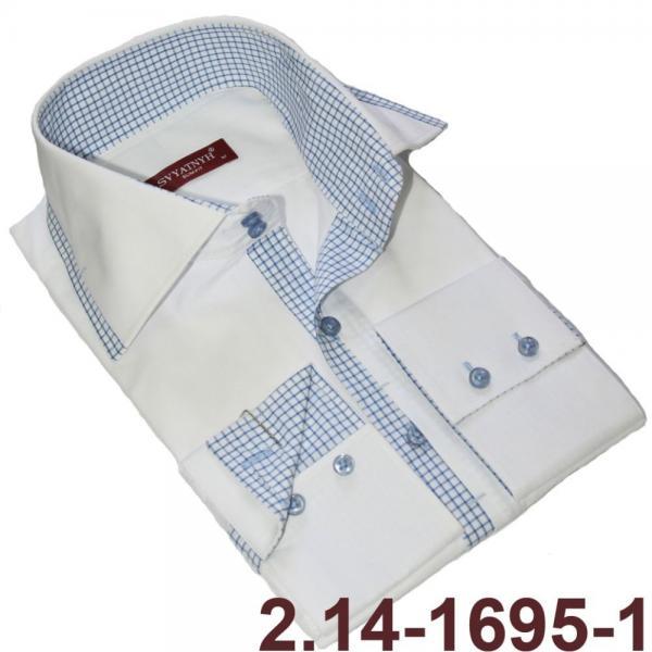 2.14-1695-1 сорочка притал диз бел клетч встав длин